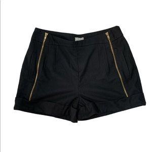 ASOS Hi-Rise Black Knit Shorts Gold Zippers Size 6